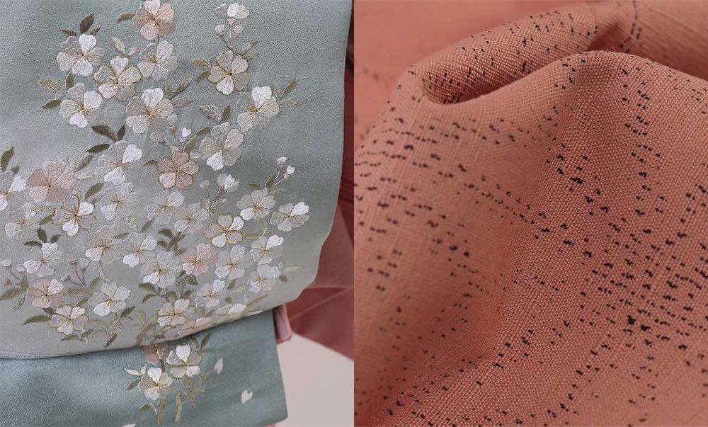 訪問着 | 正絹 結城紬 ピンク麻の葉 おすすめの訪問着レンタル  生地見本