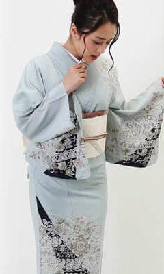 おすすめ単衣着物レンタル_薄ブルーに黒 エキゾチックな唐花文様
