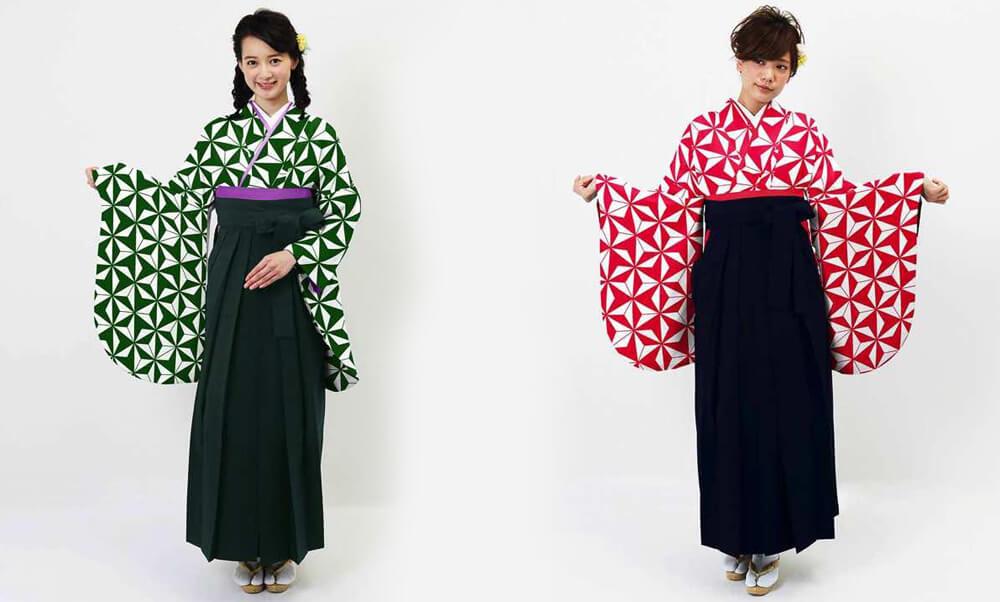 おすすめ卒業式袴 (新品) レンタル_卒業式袴 (新品) | アサノハ グリーンとレッド_モデル着用