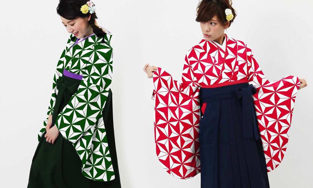 おすすめ卒業式袴 (新品) レンタル_卒業式袴 (新品) | アサノハ グリーンとレッド_モデル着用_動き