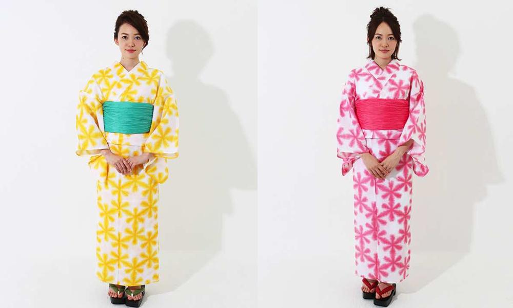 おすすめレディース浴衣レンタル | 白地に黄色の雪華・白地にパステルピンクの雪華_モデル