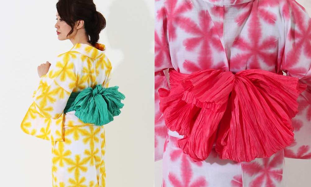 おすすめレディース浴衣レンタル | 白地に黄色の雪華・白地にパステルピンクの雪華_リンクコーデ