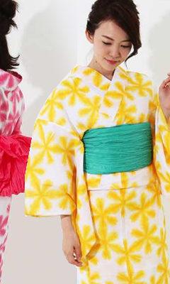 おすすめレディース浴衣レンタル | 白地に黄色の雪華・白地にパステルピンクの雪華