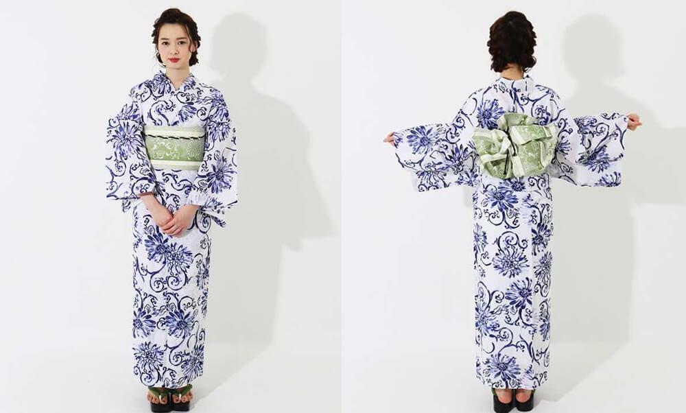 おすすめレディース浴衣レンタル | 【龍村美術きもの】白地に紺色の花と蔓文様_モデル着用