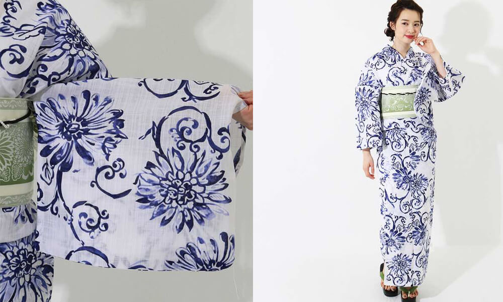 おすすめレディース浴衣レンタル | 【龍村美術きもの】白地に紺色の花と蔓文様_モデル着用と柄