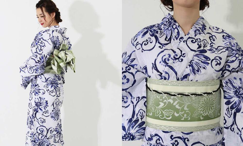 おすすめレディース浴衣レンタル | 【龍村美術きもの】白地に紺色の花と蔓文様_モデル着用と帯