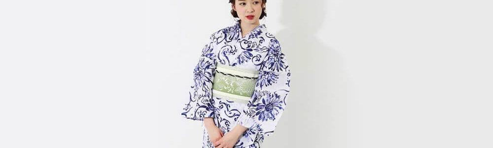 おすすめレディース浴衣レンタル | 【龍村美術きもの】白地に紺色の花と蔓文様