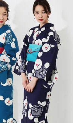 おすすめレディース浴衣レンタル | 紺地に白色の光琳椿と絞り調文様と明るい紺地に白色の光琳椿と絞り調文様