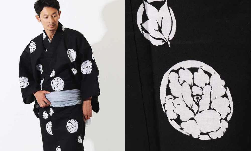 おすすめメンズ浴衣レンタル | 黒地に花小紋_モデル着用と牡丹