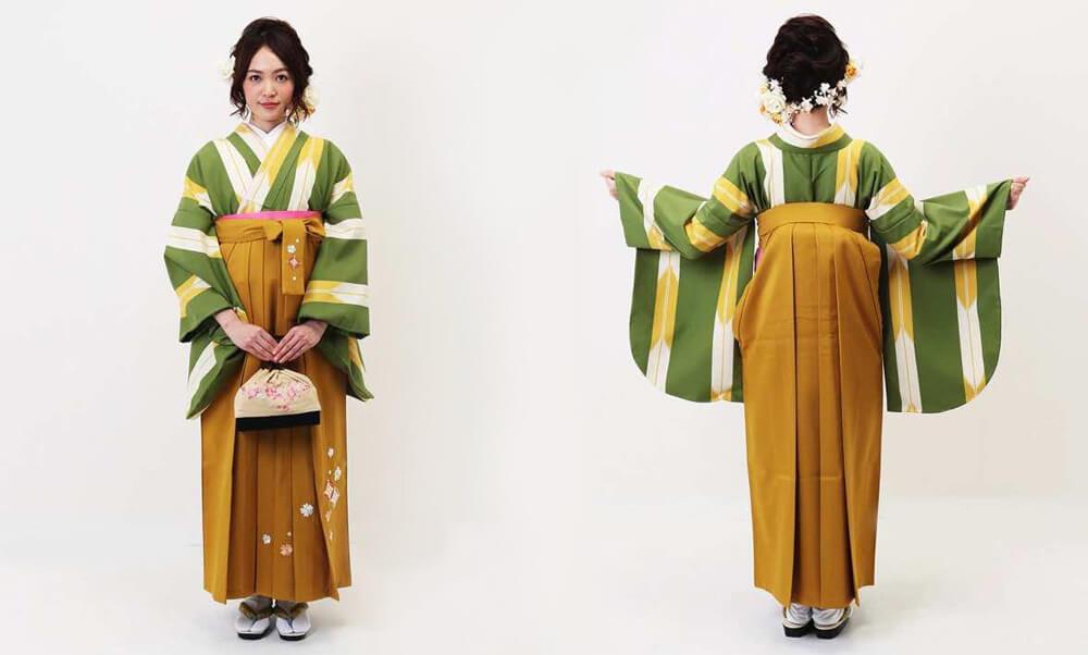 おすすめ卒業式袴レンタル_ウグイス色の矢絣(細) 山吹刺繍袴_モデル着用