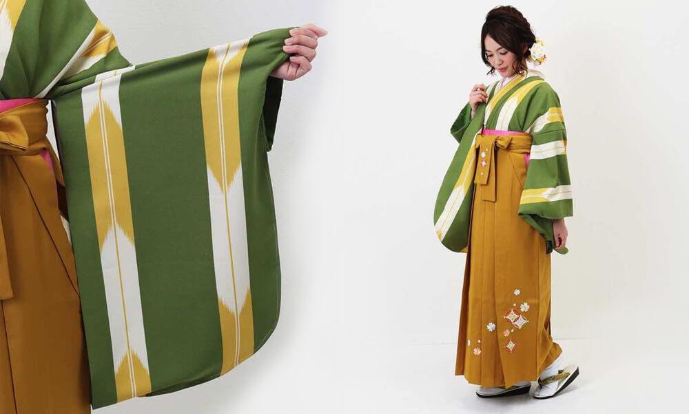 おすすめ卒業式袴レンタル_ウグイス色の矢絣(細) 山吹刺繍袴_動き