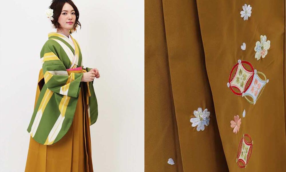 おすすめ卒業式袴レンタル_ウグイス色の矢絣(細) 山吹刺繍袴_袴の柄