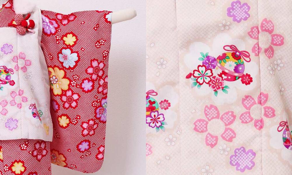 おすすめ七五三レンタル | 3歳 | 赤地に絞り風 桜の舞の柄