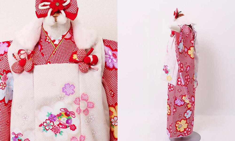 おすすめ七五三レンタル | 3歳 | 赤地に絞り風 桜の舞のお被布