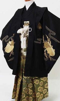 おすすめ七五三(5際)レンタル_七五三(五歳) | 黒地に金のカブトムシ刺繍 亀甲菱紋袴