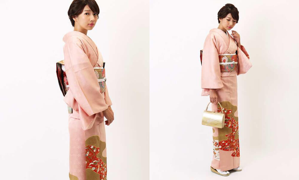 おすすめ留袖着レンタル | ピンク地雲取り (三紋)_モデル着用_動き