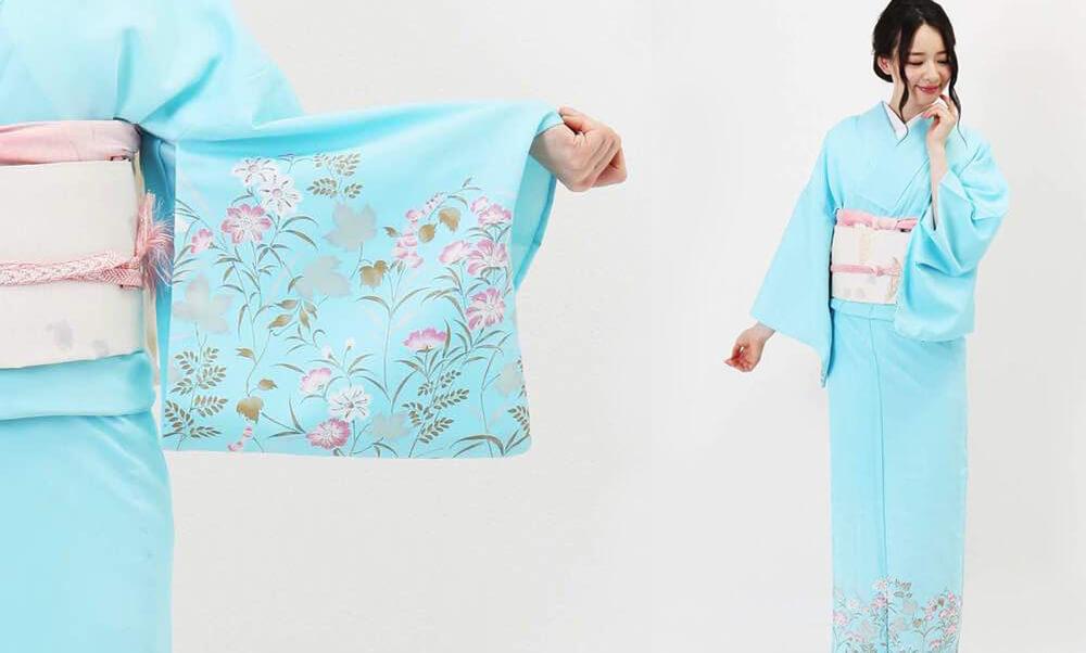 おすすめ夏着物レンタル | 単衣 | 水色地花模様_水色