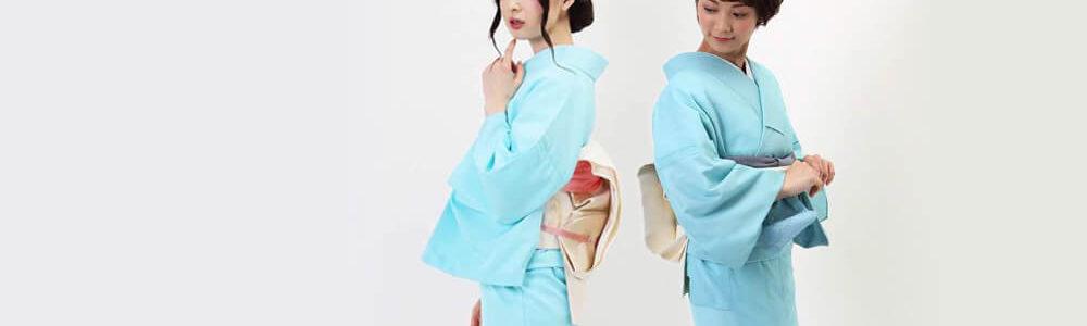 おすすめ夏着物レンタル | 単衣 | 水色地花模様_絽 | 空色雪輪文様