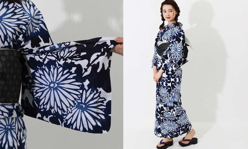 おすすめレディース浴衣レンタル | 【IKS COLLECTION】白地に青×紺のグラデーション菊_菊の花