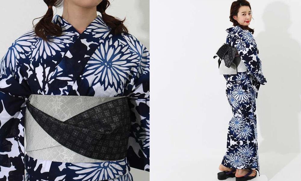 おすすめレディース浴衣レンタル | 【IKS COLLECTION】白地に青×紺のグラデーション菊_紺色と帯