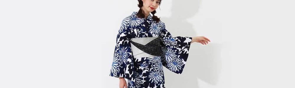 おすすめレディース浴衣レンタル | 【IKS COLLECTION】白地に青×紺のグラデーション菊