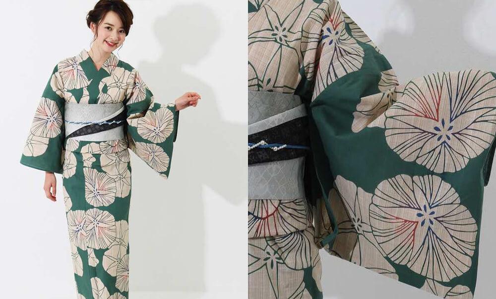 おすすめレディース浴衣レンタル | 【IKS COLLECTION】緑地に生成り色の朝顔_朝顔とグリーン