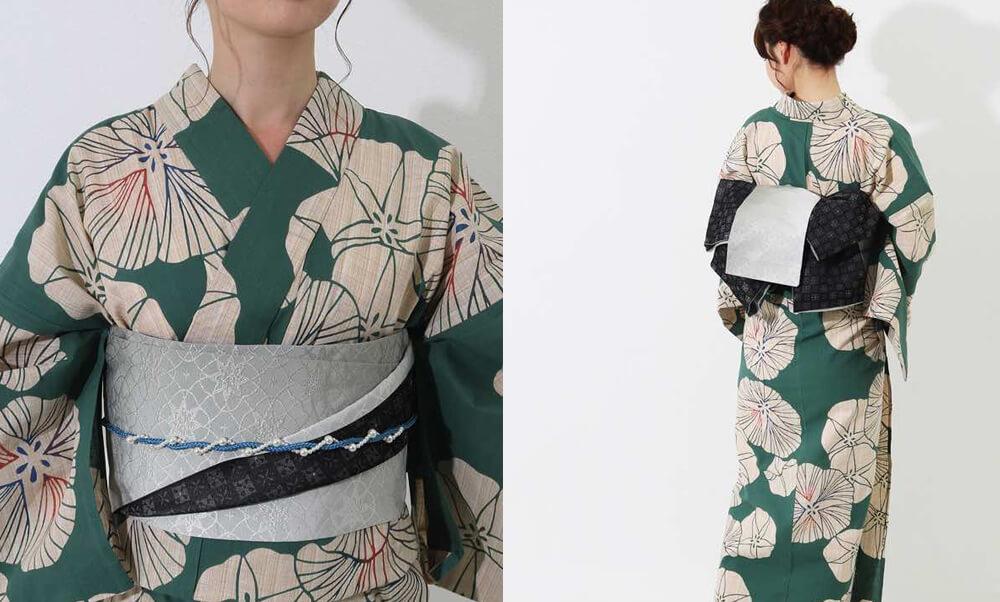 おすすめレディース浴衣レンタル | 【IKS COLLECTION】緑地に生成り色の朝顔_帯
