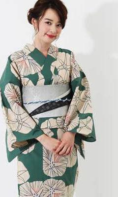 おすすめレディース浴衣レンタル | 【IKS COLLECTION】緑地に生成り色の朝顔