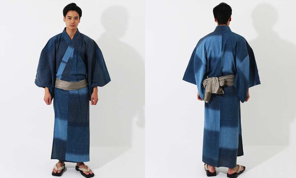 おすすめメンズ浴衣レンタル | 【ummm.】青と紺の三色のタイル模様_インディゴ