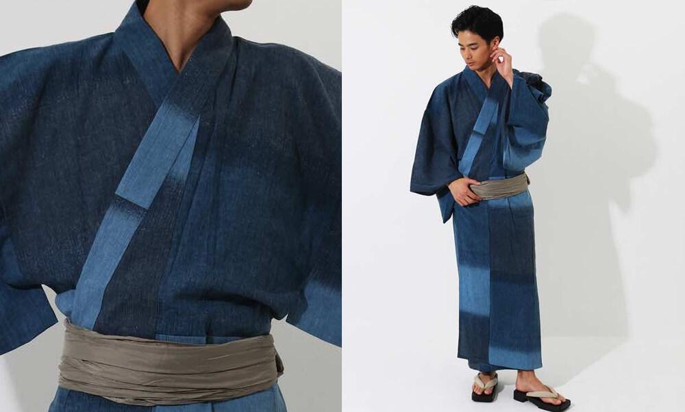 おすすめメンズ浴衣レンタル | 【ummm.】青と紺の三色のタイル模様_藍色