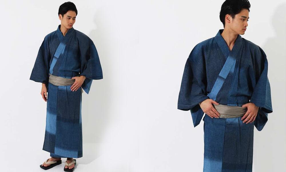 おすすめメンズ浴衣レンタル | 【ummm.】青と紺の三色のタイル模様_兵児帯