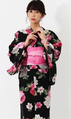 おすすめレディース浴衣レンタル | 【Shangrila】黒地にピンク×白の花文様