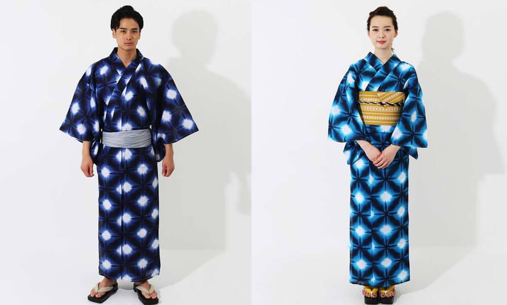 おすすめ浴衣レンタル |【WAYU-RAKU】紺色地に絞り調の模様  |  白地に紺色の雪華_カップルコーデ