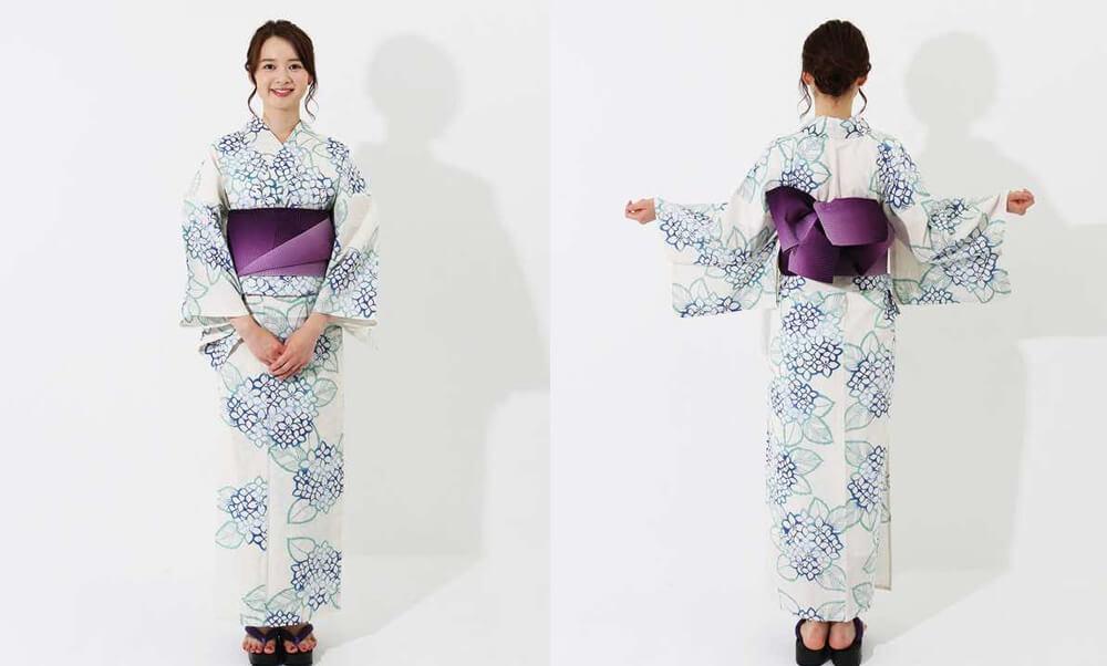 おすすめレディース浴衣レンタル | 【IKS COLLECTION】白地に青紫陽花_白地に青
