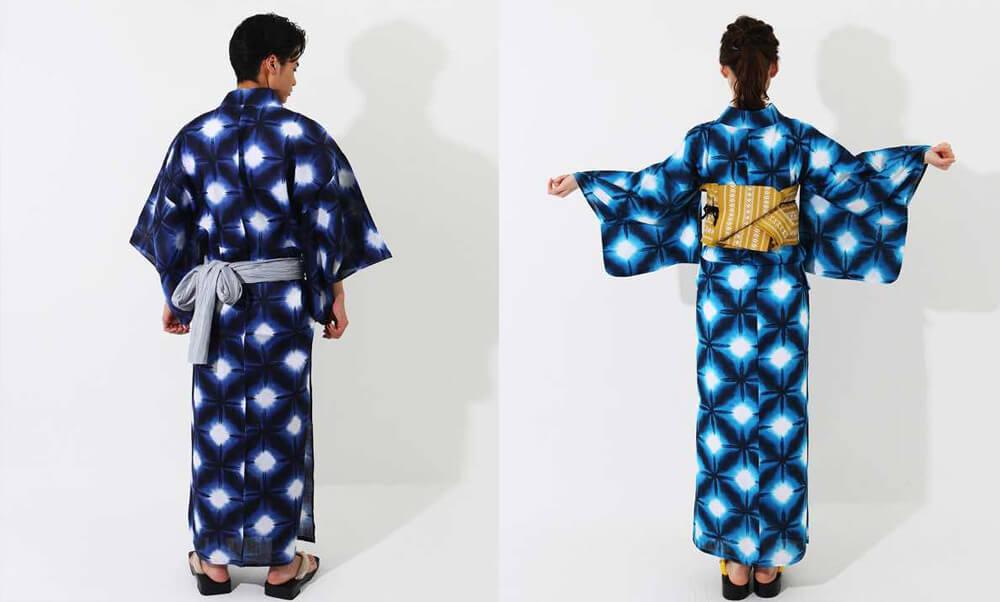おすすめ浴衣レンタル |【WAYU-RAKU】紺色地に絞り調の模様  |  白地に紺色の雪華_青