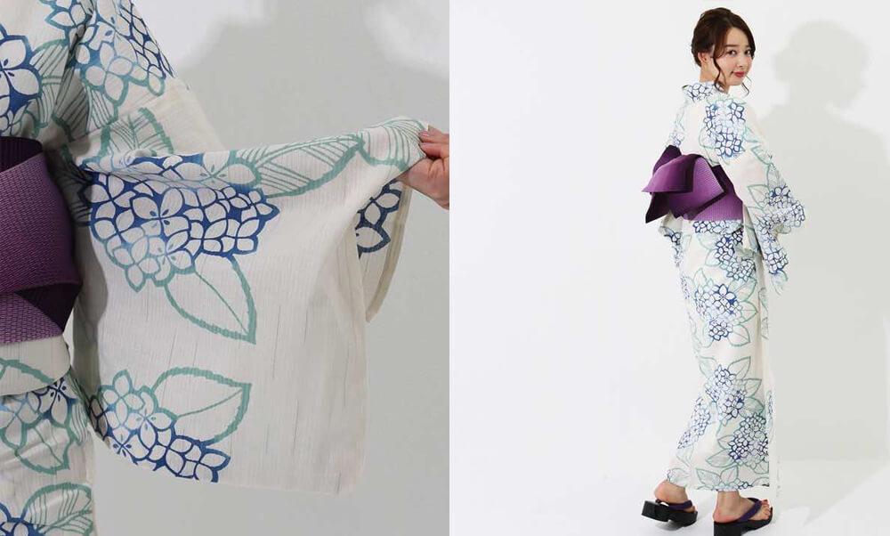 おすすめレディース浴衣レンタル | 【IKS COLLECTION】白地に青紫陽花_白地に紫陽花