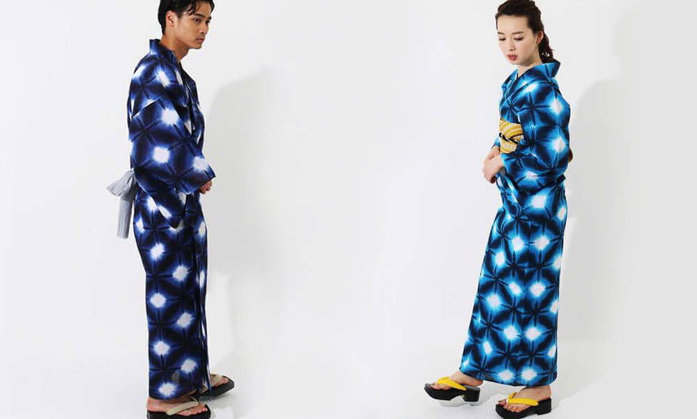 おすすめ浴衣レンタル |【WAYU-RAKU】紺色地に絞り調の模様  |  白地に紺色の雪華_青のリンクコーデ