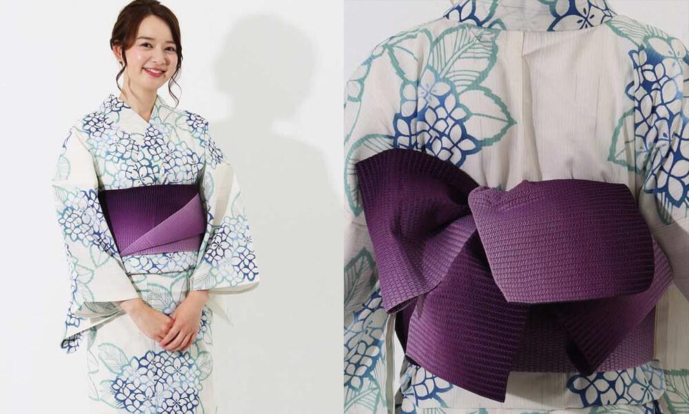 おすすめレディース浴衣レンタル | 【IKS COLLECTION】白地に青紫陽花_白地に紫帯