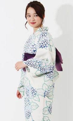 おすすめレディース浴衣レンタル | 【IKS COLLECTION】白地に青紫陽花