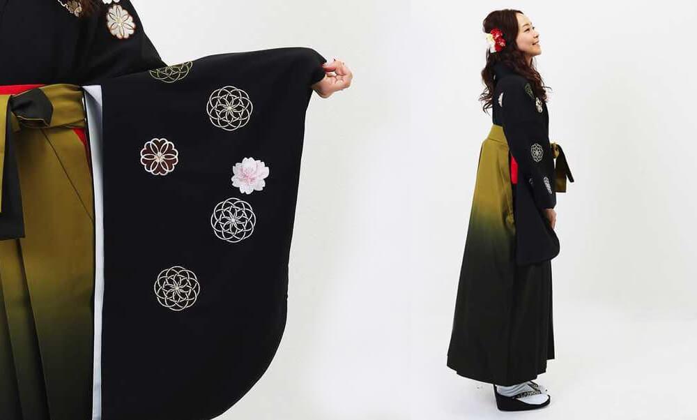 おすすめ卒業式袴レンタル | 花鞠文_黒に刺繍