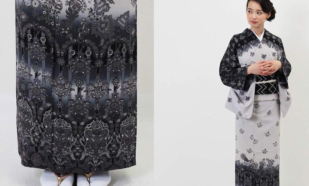 おすすめ夏着物・絽レンタル | 正絹 薄グレーと黒 エキゾチック柄_オリエンタル