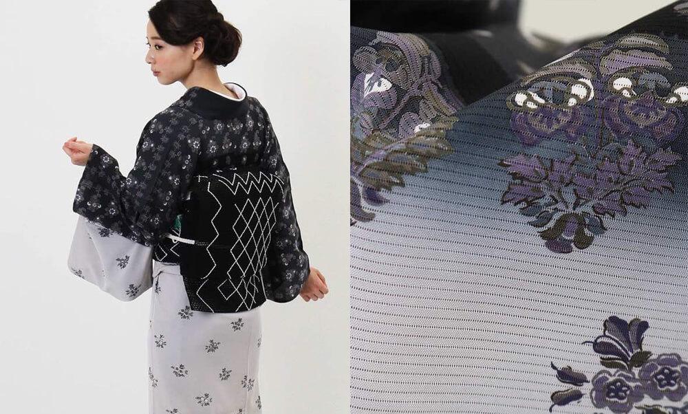 おすすめ夏着物・絽レンタル | 正絹 薄グレーと黒 エキゾチック柄_紫