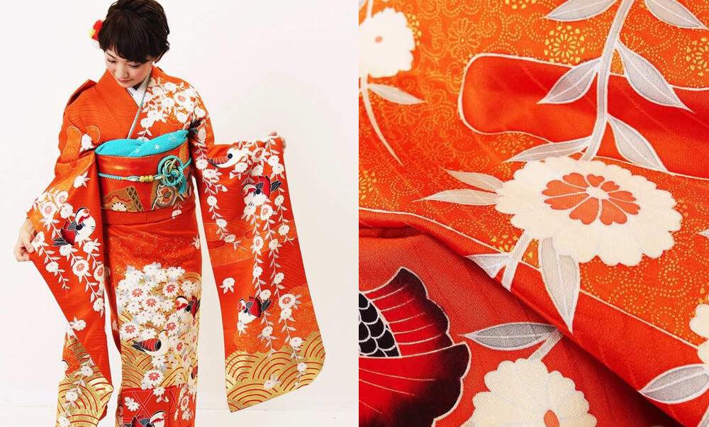 おすすめ振袖レンタル | 橙のめぐり鳥_オレンジと菊