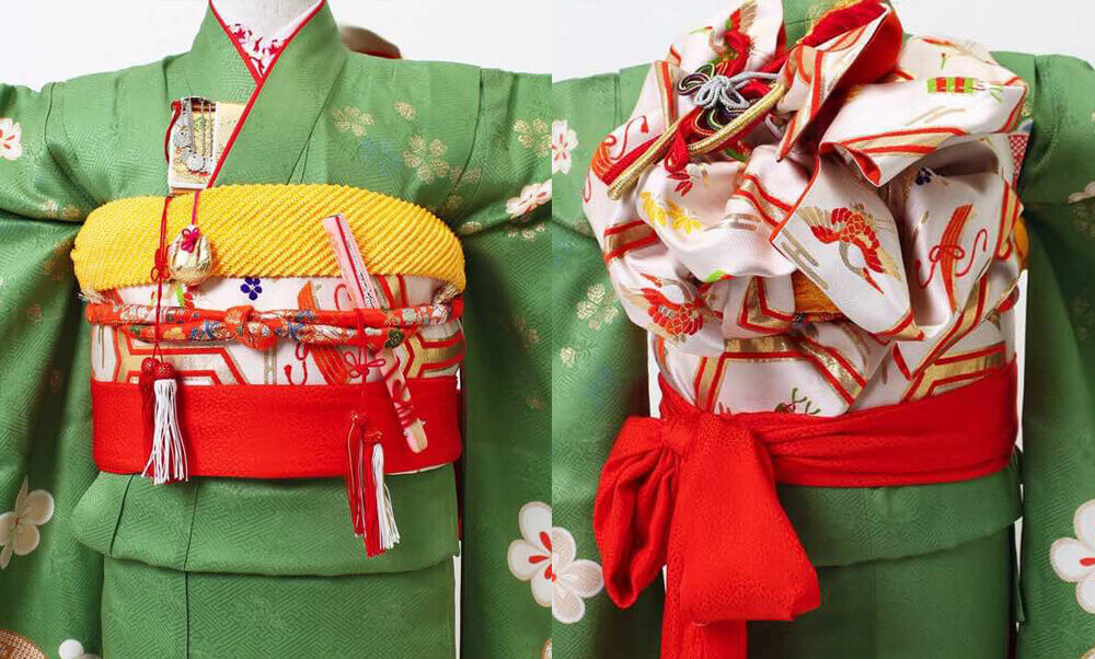 おすすめ七五三(7才)の着物レンタル | 正絹 若草に金桜梅 源氏車_緑と帯