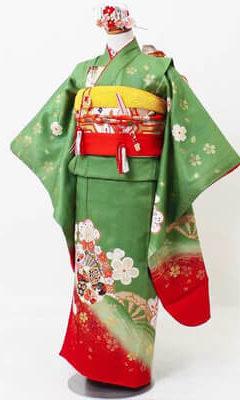 おすすめ七五三(7才)の着物レンタル | 正絹 若草に金桜梅 源氏車