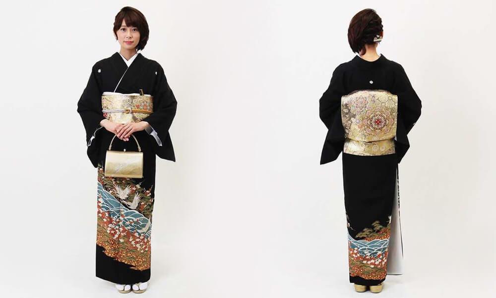 おすすめ留袖レンタル | 黒留袖 | 熨斗目文様に花と鶴_黒と青