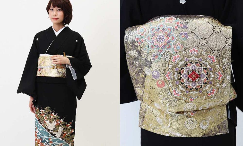 おすすめ留袖レンタル | 黒留袖 | 熨斗目文様に花と鶴_黒と金の帯
