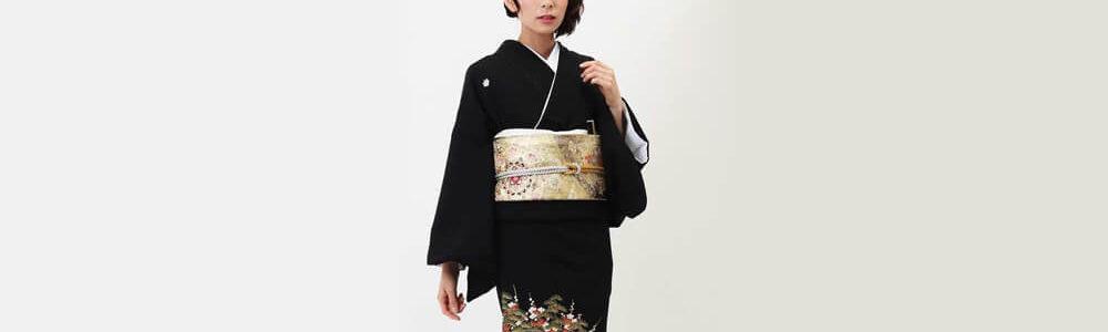 おすすめ留袖レンタル | 黒留袖 | 熨斗目文様に花と鶴