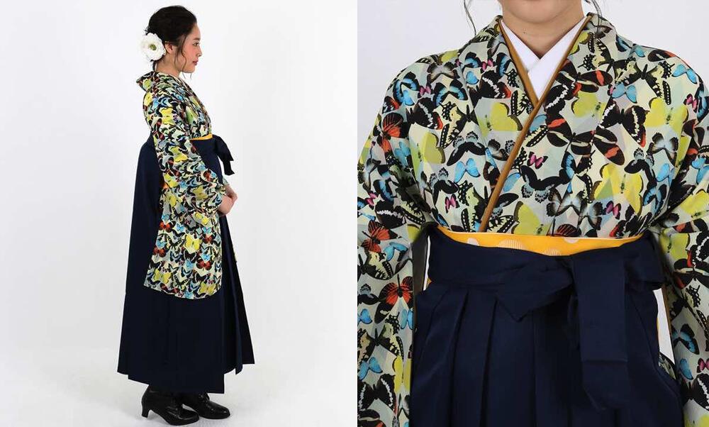 おすすめ卒業式袴レンタル | 淡黄色地にダイヤ柄 様々な蝶の総柄 紺袴_袴にブーツ