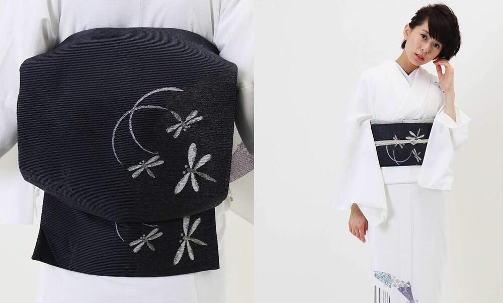 おすすめ夏着物・絽レンタル | 白地 縞に三角模様_絽の帯